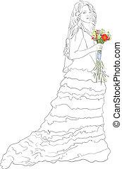 bruid, bouquet.