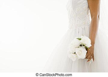 bruid, bouquet., vasthouden