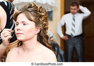 bruid, bruidegom, bezorgd, wachten, achtergrond, make-up, trouwfeest, voor