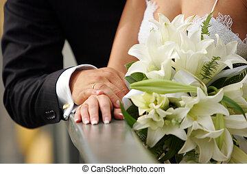 bruid, bruidegom, handen