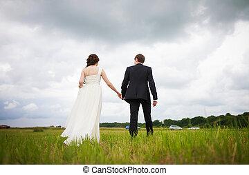 bruid, bruidegom, hooi