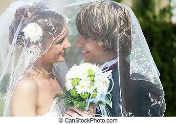 bruid, bruidegom, jonge, togethe