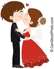 bruid, bruidegom, kussende