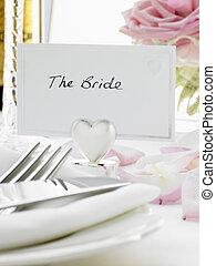 bruid, bruidegom, plek, ontvangst, instellingen