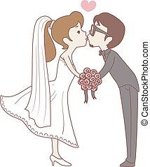 bruid, bruidegom, pose, kussende