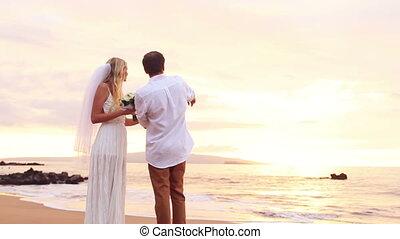 bruid, bruidegom, romantische, vrolijke