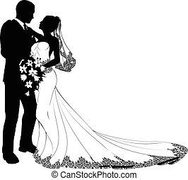 bruid, bruidegom, silhouette