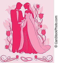 bruid, bruidegom, silhouette, sierlijk