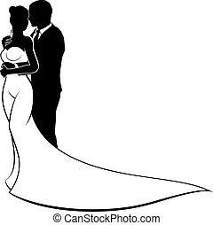 bruid, bruidegom, silhouette, trouwfeest
