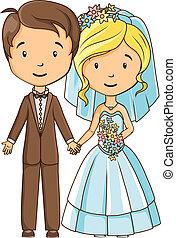 bruid, bruidegom, spotprent
