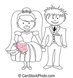 bruid, bruidegom, -, trouwfeest