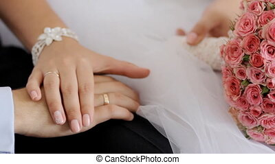 bruid, bruidegom, vrolijke