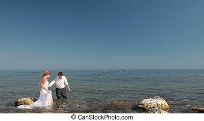 bruid, bruidegom, zee, vrolijke