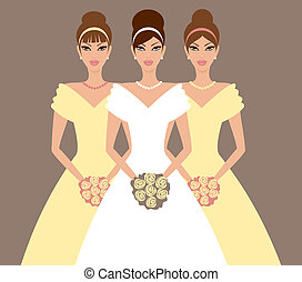 bruid, en, bridesmaids, in, gele