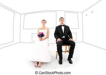 bruid en bruidegom, in, hun, nieuw huis