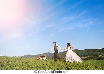 bruid en bruidegom, met, dog