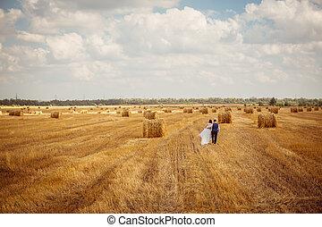 bruid en bruidegom, met, sluier, dichtbij, hooi