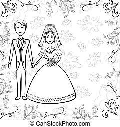 bruid en bruidegom, op, floral, achtergrond, omtrek