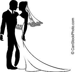 bruid en bruidegom, silhouette