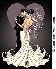 bruid, en, verloofde