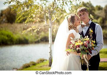 bruid, flirten, bruidegom, vijver