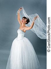 bruid, geklede, in, elegantie, wit huwelijk, jurkje