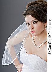 bruid in huwelijk jurk, in, studio, schietende