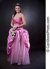 bruid, in, roze