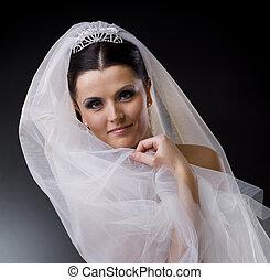 bruid, in, sluier