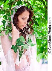 bruid, in, tuin