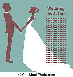 bruid, invitation., bruidegom, silhouette, trouwfeest