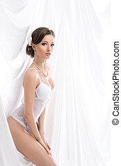 bruid, jonge, witte , lingerie, achtergrond, erotische , op, sexy