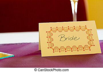 bruid, label, naam