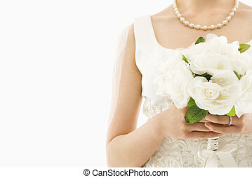 bruid, met, bouquet.