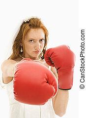 bruid, met, boxing, gloves.