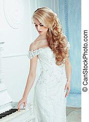 bruid, met, elegant, hairstyle.