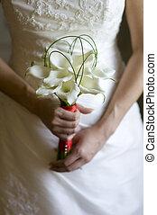bruid, met, lelie, bouquetten