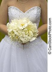 bruid, met, trouwboeket