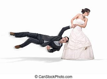 bruid, misbruiken, bruidegom, vrijstaand