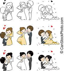 bruid, mooi en gracieus, bruidegom