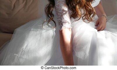 bruid, morning., fijn art., wedding., handen, van, een,...