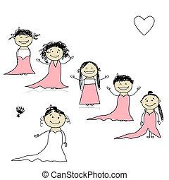 bruid, ontwerp, jouw, bridesmaids
