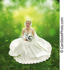 bruid, op, groen gras, collage
