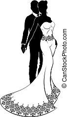 bruid, paar, silhouette, trouwfeest, bruidegom