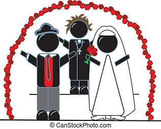 bruid, priester, bruidegom