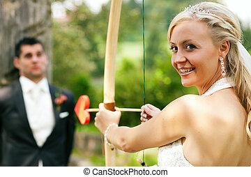 bruid, schietende , zichzelf, een, bruidegom