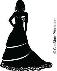 bruid, silhouette