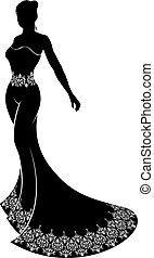 bruid, silhouette, trouwfeest