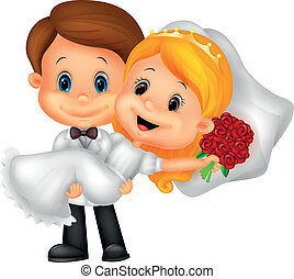 bruid, spotprent, geitjes, groo, spelend