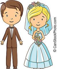 bruid, stijl, bruidegom, spotprent